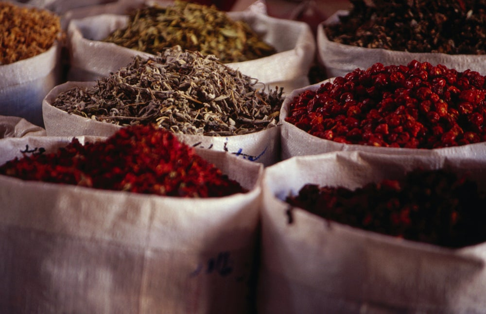 Herbs and spices for sale in spice suq.