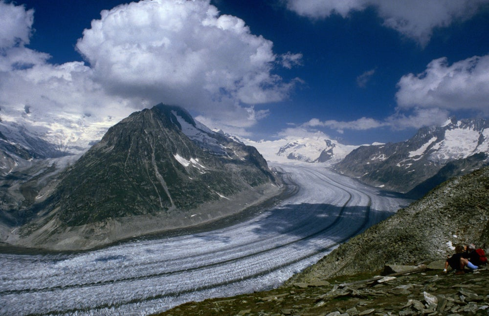 Aletsch Glacier,the largest glacier in continental Europe at 24km long.