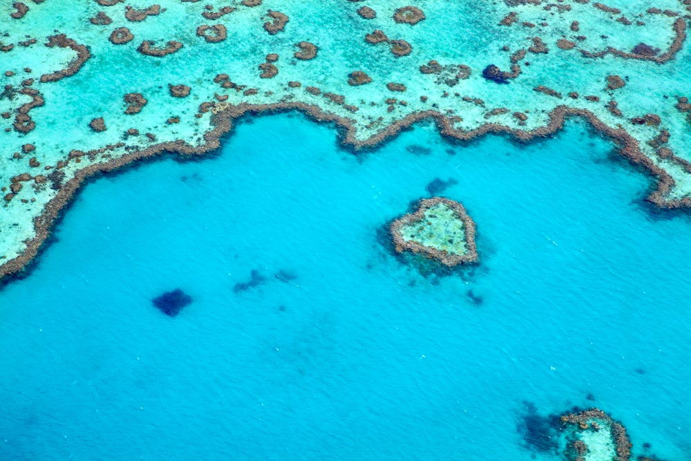 Aerial view of Heart Reef on Great Barrier Reef near Whitsunday Islands.