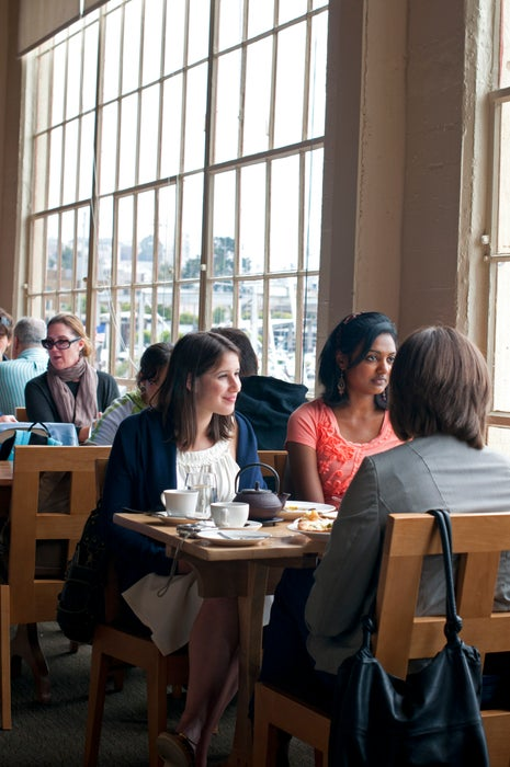 Group of women dining at Greens Restaurant.