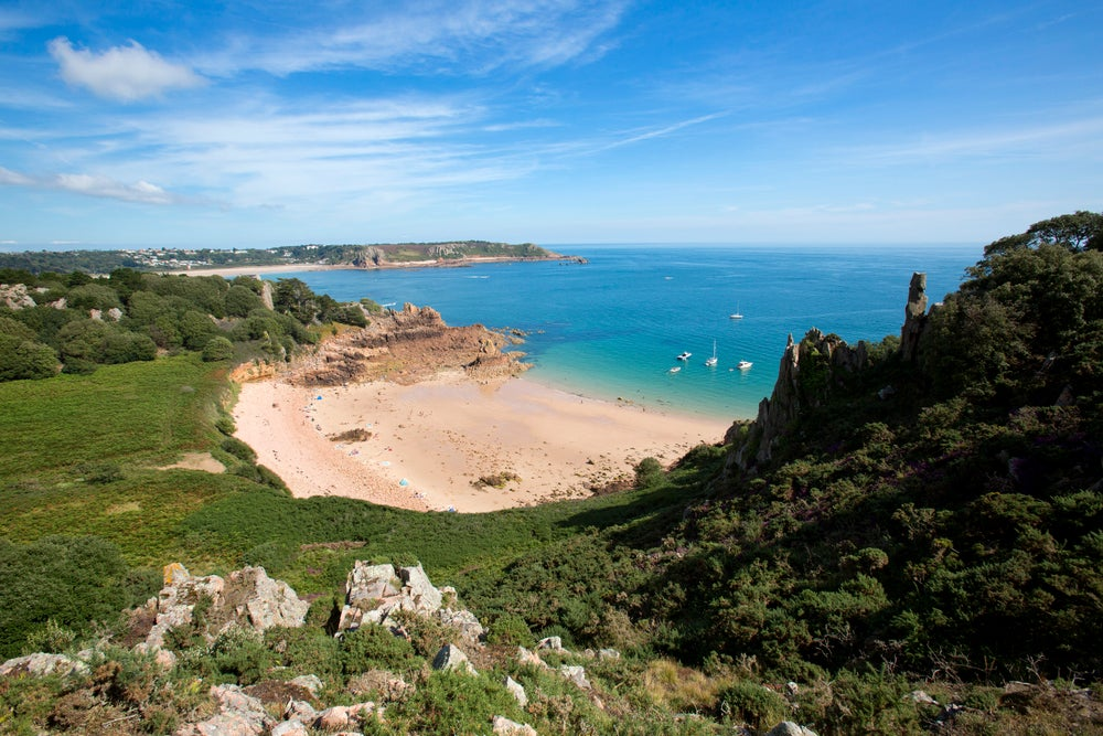 Overview of Beauport Bay on south coast of Jersey.