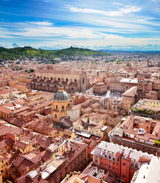 Overview of medieval cityscape of historic Bologna.