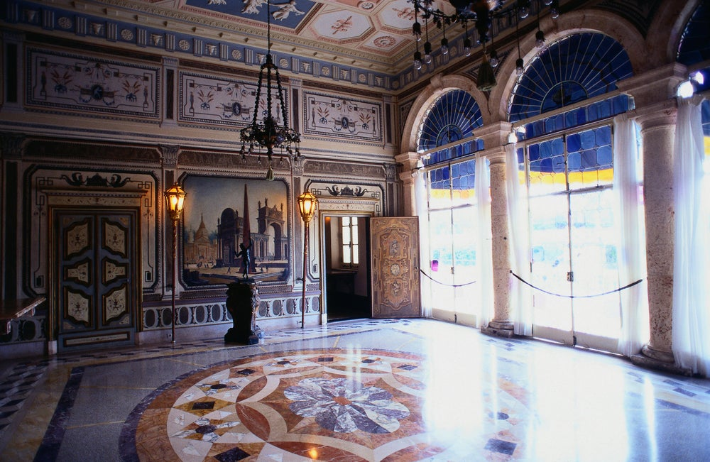 Vizcaya, built by James Deering in 1916, in Italian Renaissance style: inside the marble filled lobby - Miami, Florida