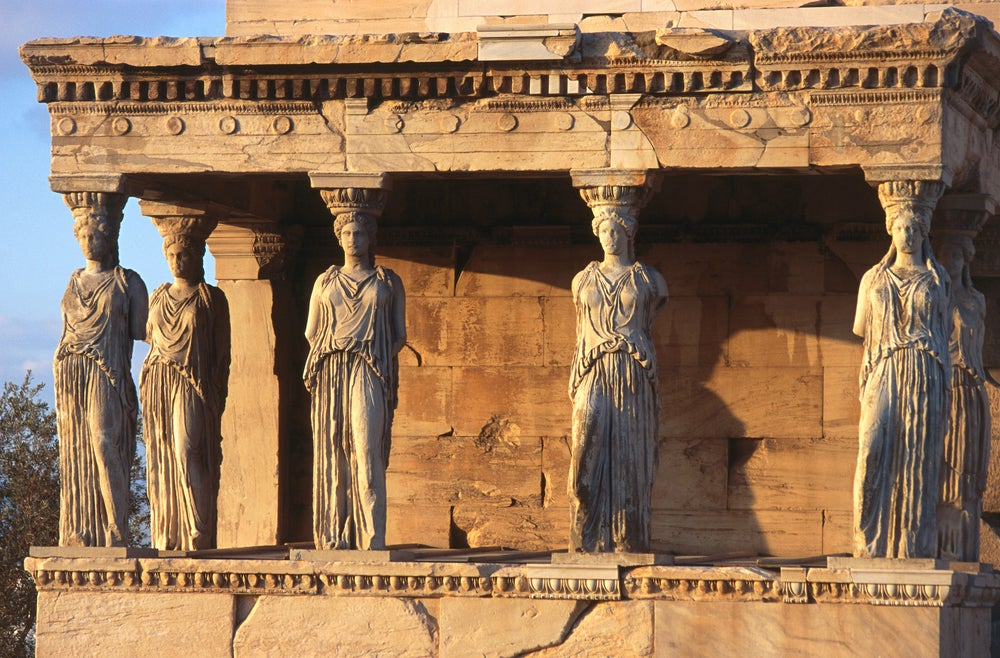 The Porch of the Caryatids, six maidens holding aloft the southern portico of the Erechtheion sanctuary in the Acropolis.
