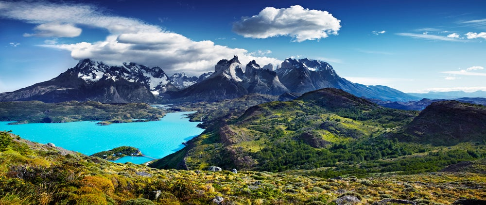Overview of Lake Pehoe Paine Massif.